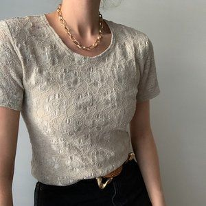 Vintage Tops - Vintage Stretch Lace Fitted Tee Shirt